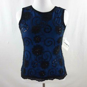 Joseph A Sleeveless Crocheted Sequined Trim Mesh T